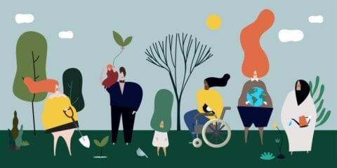 An illustration of people with various abilities taking care of nature