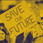 """How To Be A Proactive Beauty Activist Webinar graphic, with a hand holding a plaque card that reads: """"Save Our Future"""""""