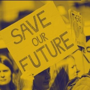 "How To Be A Proactive Beauty Activist Webinar graphic, with a hand holding a plaque card that reads: ""Save Our Future"""