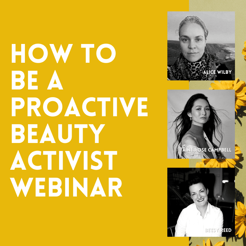 Graphic of three black and white headshots of the panellists for How To Be A Proactive Beauty Activist webinar on the CBU gold background
