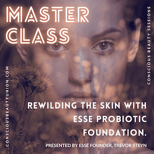 Model with translucent overlay of wildflowers promoting Esse Foundation Masterclass
